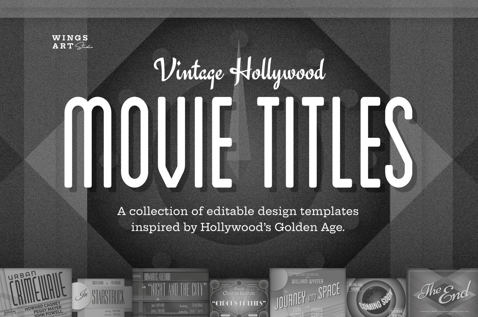 vintage movie title templates wings art studio chris. Black Bedroom Furniture Sets. Home Design Ideas